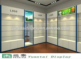 Wooden Acrylic Cosmetic Slat Wall Display Rack Shelf With Led Spot Light For Retail Shop Interior
