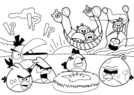 Party Angry Birds Coloring Pages