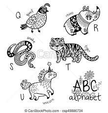 Vectors Of Animals Alphabet Q