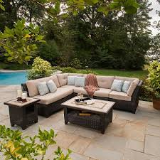 Sams Club Patio Set With Fire Pit by Avondale 6 Piece Sectional Seating Set With Premium Sunbrella