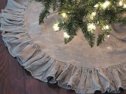 Items Similar To 36 Inch Linen Ruffled Christmas Tree Skirt On Etsy Via