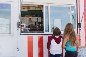 100 Food Truck Window Customers Look At Menu Outside Vendor Stocksy United
