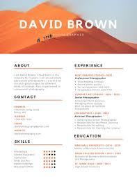 Photographer Resume Web Templates Orange And Black Colorful Photography Canva Printable