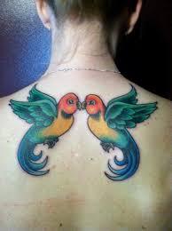 Full Color Love Birds Tattoo