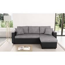 canapé d angle convertible canapé d angle réversible et convertible avec coffre gris noir