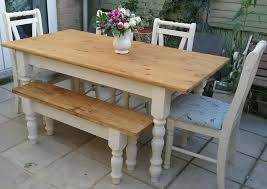 Shabby Chic Solid Pine Farmhouse Table 4 Chairs And Bench Cream On Gumtree Hi I Have A Lovely Hand Made With Of Which