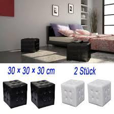 2 leder hocker nachttisch nachtschrank sitzhocker wohnzimmer