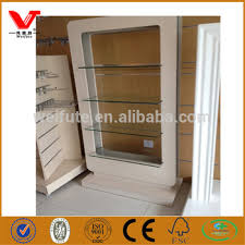 Modern Wood Wall Make Up Display Cabinet Cases Used Cosmetic Shop Design