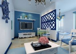 interior design light blue living room wall with blue upholstered
