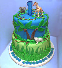 Baby Shower Jungle Cake 3tier Yellow Cake With Strawberu2026 Flickr