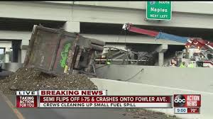 100 Semi Truck Accident On I 75 Flips Off And Crashes Onto Fowler Avenue YouTube