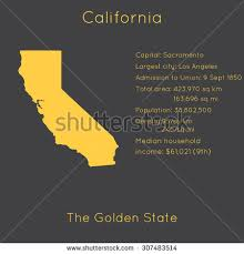 California Template With Main Information And Map Simple Modern Flat Style Vector EPS8