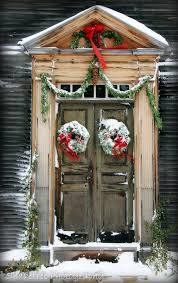 Rustic Door Doorway Colonial Christmas Snow Snowy Wreath Red Bow Holidays New England Natural Wood Vintage Feel 8 X 12 Fine Art Print