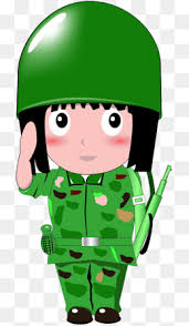 Salute The Soldiers Female Green Cartoon PNG Image