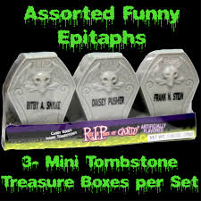 Creepy Halloween Tombstone Sayings by Candy Bones Mini Coffin Tombstone Box Halloween Party Favors Set