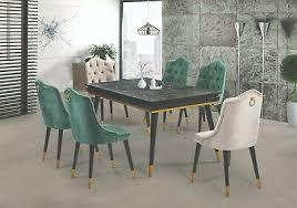 esszimmerstuhl chesterfield aus samt grün beige