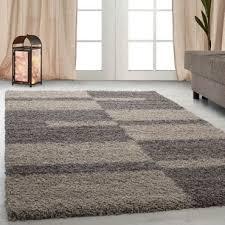 hochflor shaggy teppich wohnzimmerteppich langflor linien karo muster taupe