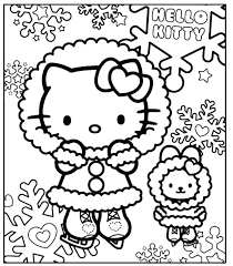 Christmas Kitten Coloring Pages And Hello Kitty Sheets Home Color