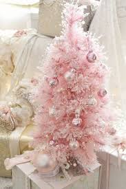 Pastel Pink Tabletop Tree With Tiny Ornaments