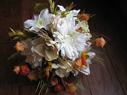 Fall Silk Flower Wedding Bouquet And Boutonniere
