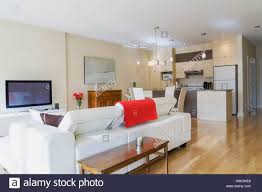 Best Floor For Kitchen Diner by White Leather Sofa In Living Room And Kitchen Diner In Renovated