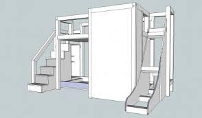 bunk bed plans slide fine woodworking bed designs diy ideas