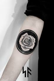 Circle Rose Black Forearm Tattoo SVA