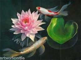 ceramic tile mural backsplash macon koi fish 24 x 18