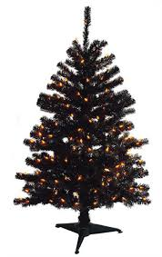 Black Christmas Tree With Orange Lights