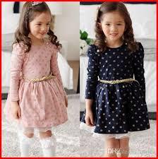 2016 Sweet Girls Cotton Dress Autumn Pleated Long Sleeve Gold Polka Dots Pink Blue Princess Dresses Dressy Girl Children Kids Clothes Dot