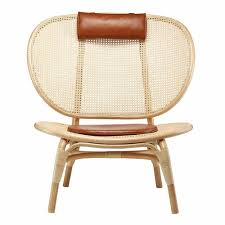 NORR11 Nomad Lounge Chair Bamboo Cognac Leather