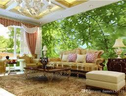 großhandel fototapete für wohnzimmer sofa schlafzimmer 3d stereo große wandbilder grün blätter landschaft wandbild tapete für wände 3 d