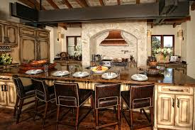 Kitchen Counter Top In Spanish Design With Rustic Dining Chair And Table Plus Classic Style Of Range Hood