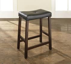 Black Leather Bar Stools by Brown Stained Wooden Bar Stool Using Rectangle Black Leather