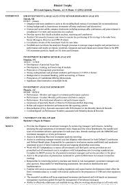 Download Investment Analyst Senior Resume Sample As Image File