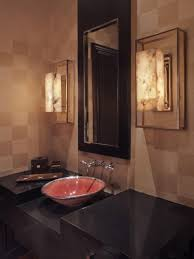BathroomGorgeous Guest Bathroom Decor With Damask Wall And Round Mirror Also Porcelain Sink Modern