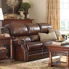 Dark Brown Leather Reclining Sofa Bassett Furniture Newbury Motion Sofa