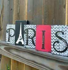 Paris Eiffel Tower Bedroom Decor Wood Sign Block Black White Grey Red Chevron Shabby