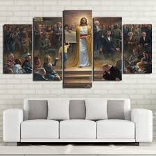Wall Art Canvas Pictures Home Decor Frame 5 Pieces Classic Painting Jesus Christ Returns To Earth