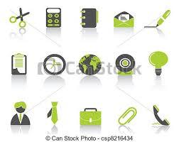 icone bureau série vert bureau icône bureau isolé arrière plan vecteur