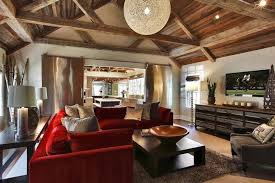 Furniture Rustic Living Room With Red Couch And Spacious Interior