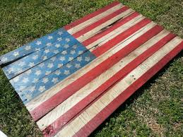 American Flag Outdoor Decor From Reclaimed Pallet Slats Rustic And Distressed Hand Painted Home Decoration