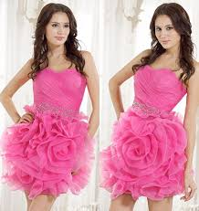 real short mini pink prom dresses with flowers cute cocktail