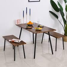 homcom essgruppe mit 2 stühlen esszimmergarnitur sitzgruppe tischgruppe braun schwarz