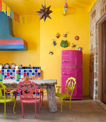 Mexican Style Kitchen Decorating Ideas For Small And Blue Wall Paint