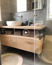 industrielle badezimmermöbel mit eiche und stahl