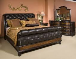 Grand Estates Queen Tufted Leather Sleigh Bed