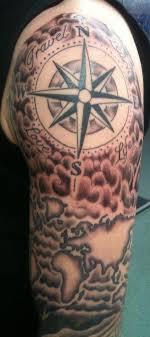Half Sleeve Compass Tattoo