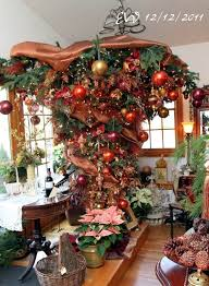 The Upside Down Christmas Tree Has Been Given A Beautiful Vintage Look Ornaments As If Theyve Handed Generations