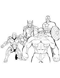 Iron Man Thor Hulk Captain America Coloring Page Free Printable